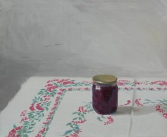 Small jar of jam on the tablecloth, 2006, oil on canvas, 23h18