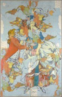 Gallant pair-2, 1991, offset laminated maps on canvas, oil, 224X144