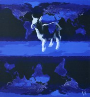 Heavenly Goat, 2010, oil on canvas, digital printing, 100Х95