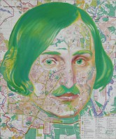 Nikolai Gogol, 2010,digital print on canvas, oil, 100x83