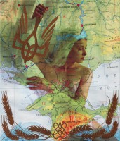 Heroic Ukraine, 2013, digital print on canvas,  bronze paint, 140Х120